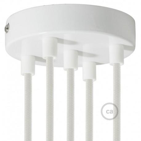 Kit rosone 5 fori bianco 120 mm con serracavi cilindrici in plastica bianca.