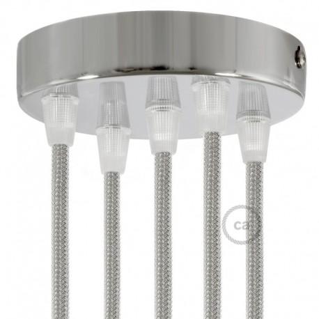 Kit rosone 5 fori cilindro cromato 120 mm, staffa, viti e 5 serracavo