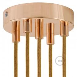 Kit rosone 5 fori ramato 120 mm con serracavi cilindrici in metallo ramato.