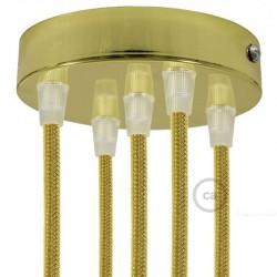 Kit rosone 5 fori cilindro ottonato 120 mm, staffa, viti e 5 serracavo