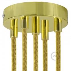 Kit rosone 5 fori ottonato 120 mm con serracavi cilindrici in metallo ottonato.