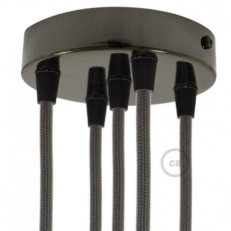 Kit rosone 5 fori cilindro nero perla 120 mm, staffa, viti e 5 serracavo