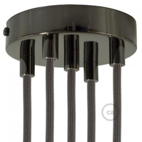 Kit rosone 5 fori nero perla 120 mm con serracavi cilindrici in metallo nero perla.