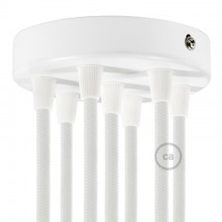 Kit rosone 7 fori cilindro bianco 120 mm, staffa e viti e 7 serracavo