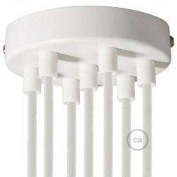 Kit rosone 7 fori bianco 120 mm con serracavi cilindrici in plastica bianca.
