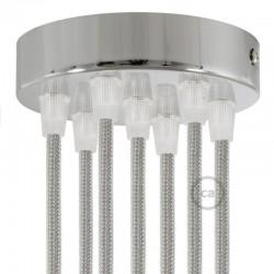 Kit rosone 7 fori cilindro cromato 120 mm, staffa e viti e 7 serracavo