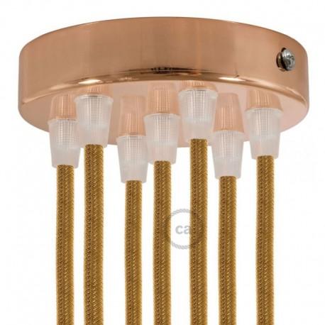 Kit rosone 7 fori cilindro ramato 120 mm, staffa e viti e 7 serracavo