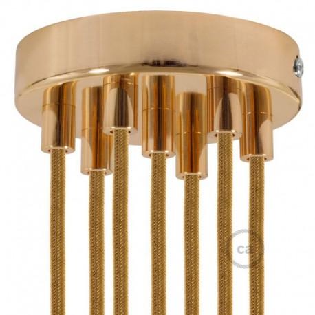 Kit rosone 7 fori ramato 120 mm con serracavi cilindrici in metallo ramato.