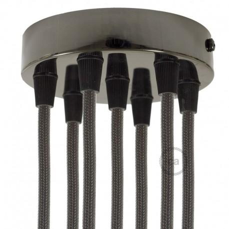 Kit rosone 7 fori cilindro nero perla 120 mm, staffa, viti e 7 serracavo