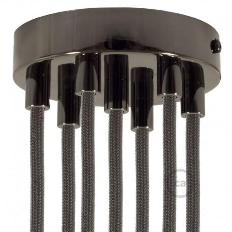 Kit rosone 7 fori nero perla 120 mm con serracavi cilindrici in metallo nero perla.