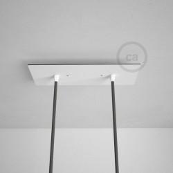 Rosone XXL rettangolare 30x12cm a 2 fori bianco completo di accessori.