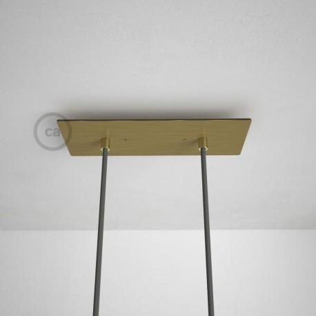 Rosone XXL rettangolare 30x12cm a 2 fori ottone satinato completo di accessori.