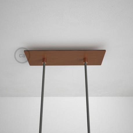 Rosone XXL rettangolare 30x12cm a 2 fori rame satinato completo di accessori.
