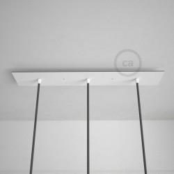 Rosone XXL rettangolare 60x12cm a 3 fori bianco completo di accessori.