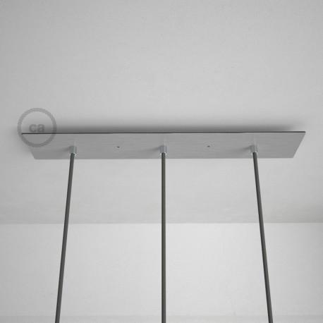 Rosone XXL rettangolare 60x12cm a 3 fori acciaio satinato completo di accessori.