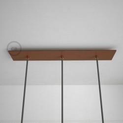 Rosone XXL rettangolare 60x12cm a 3 fori rame satinato completo di accessori.