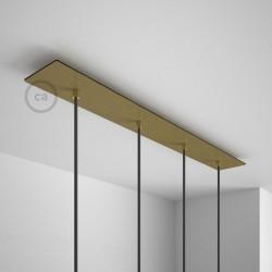 Rosone XXL rettangolare 60x12cm a 3 fori rame satinato completo di accessori.Rosone XXL rettangolare 90x12cm a 4 fori bianco com