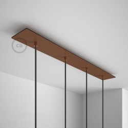 Rosone XXL rettangolare 90x12cm a 4 fori rame satinato completo di accessori.