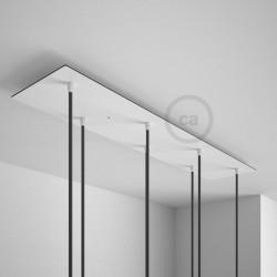 Rosone XXL rettangolare 90x12cm a 4 fori rame satinato completo di accessori.Rosone XXL rettangolare 90x20cm a 7 fori bianco com
