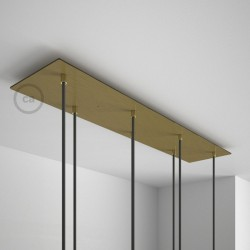 Rosone XXL rettangolare 90x20cm a 7 fori ottone satinato completo di accessori.
