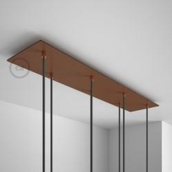 Rosone XXL rettangolare 90x20cm a 7 fori rame satinato completo di accessori.