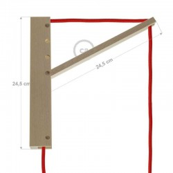 Pinocchio, supporto a muro regolabile in legno per lampade a sospensione.