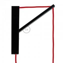 Pinocchio, supporto a muro regolabile in legno verniciato nero per lampade a sospensione.