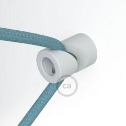 """Decentratore, gancio a """"V"""" a soffitto o parete bianco universale per cavo elettrico tessile."""