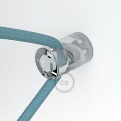 """Decentratore, gancio a """"V"""" a soffitto o parete trasparente universale per cavo elettrico tessile."""