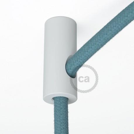 Decentratore, gancio a soffitto bianco per cavo elettrico tessile con fermo.