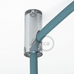 Decentratore, gancio a soffitto trasparente per cavo elettrico tessile con fermo.