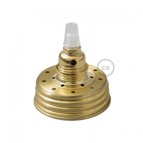 Kit illuminazione barattolo di vetro in metallo Dorato, con serracavo conico e portalampada E14 in metallo Ottonato