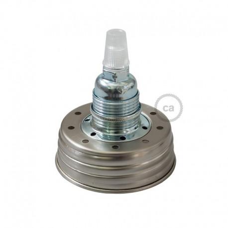 Kit illuminazione barattolo di vetro in metallo Zincato, con serracavo conico e portalampada E14 in metallo Cromato