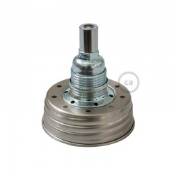 Kit illuminazione barattolo di vetro in metallo Zincato, con serracavo cilindrico e portalampada E14 in metallo Cromato