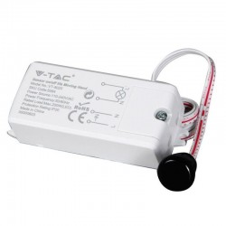 V-TAC VT-8025 SENSORE A INFRAROSSI ATTIVAZIONE TRAMITE MOVIMENTO CORTO RAGGIO PER LAMPADINE - SKU 5084