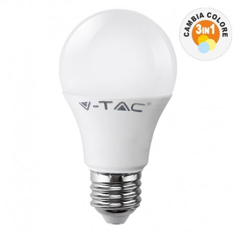 V-TAC VT-2119 LAMPADINA LED E27 9W BULB A60 3STEP COLOR CHANGING - SKU 7317