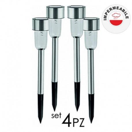 SET 4 PEZZI LAMPIONCINO DA GIARDINO AD ENERGIA SOLARE - POL0015