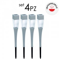 SET 4 PEZZI LAMPIONCINO DA GIARDINO AD ENERGIA SOLARE - POL0022