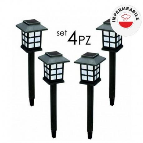 SET 4 PEZZI LAMPIONCINO DA GIARDINO AD ENERGIA SOLARE LANTERNA - POL0018 Catalogo Prodotti Anteprima