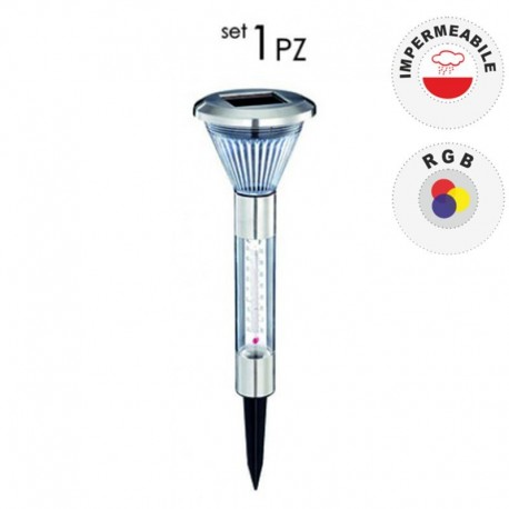 SET 1 PEZZO LAMPIONCINO DA GIARDINO AD ENERGIA SOLARE CON TERMOMETRO INTEGRATO - POL0021