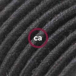 Cavo Elettrico rotondo rivestito in Cotone Tinta Unita Nero RC04