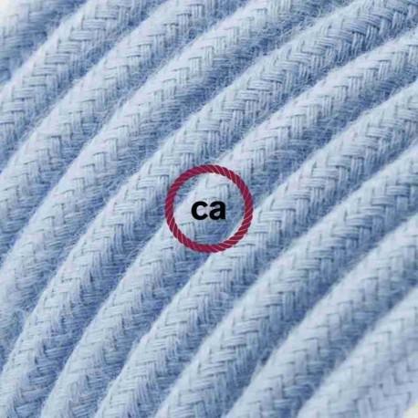 Cavo Elettrico rotondo rivestito in Cotone Tinta Unita Oceano RC53