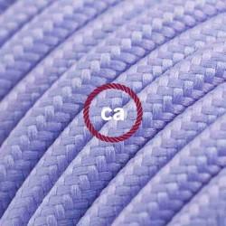 Cavo Elettrico rotondo rivestito in tessuto effetto Seta Tinta Unita Lilla RM07