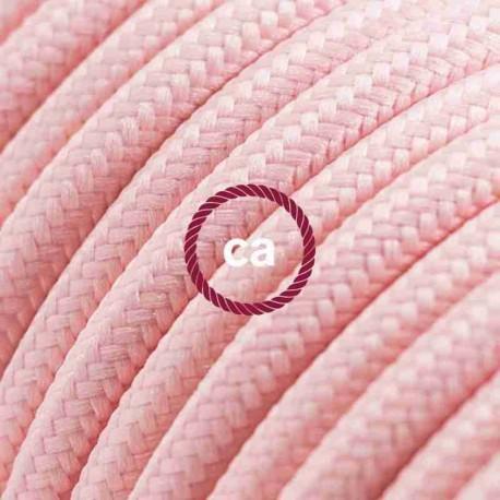 Cavo Elettrico rotondo rivestito in tessuto effetto Seta Tinta Unita Rosa Baby RM16