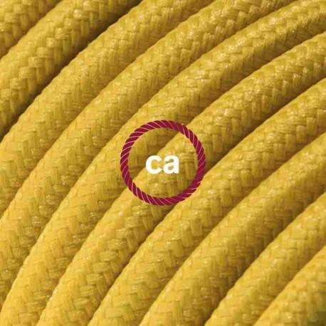 Cavo Elettrico rotondo rivestito in tessuto effetto Seta Tinta Unita Senape RM25