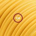 Cavo Elettrico rotondo rivestito in tessuto effetto Seta Tinta Unita Giallo RM10