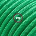Cavo Elettrico rotondo rivestito in tessuto effetto Seta Tinta Unita Verde RM06