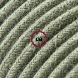 Cavo Elettrico rotondo rivestito in Cotone Tinta Unita Verde Grigio RC63