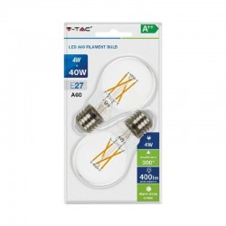 V-TAC VT-2114 DUO PACK CONFEZIONE 2 LAMPADINE LED E27 4W BULB A60 CROSS FILAMENT - SKU 7283