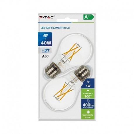 V-TAC VT-2114 DUO PACK CONFEZIONE 2 LAMPADINE LED E27 4W BULB A60 CROSS FILAMENT - SKU 7283